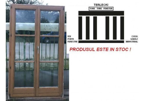 Wooden Terrace door double glazeed door H 208 x W 122 cm