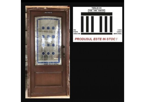 Wooden entrance Stained double glazeed door H 220 x W 105 cm